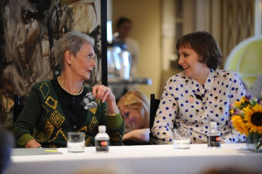 "Betty Halbreich and actress Lena Dunham speak at ""About Town - Betty Knows Best"" during The New Yorker Festival 2013 at BG Restaurant, Bergdorf Goodman on October 6, 2013 in New York City."