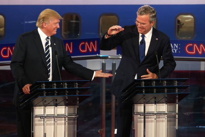 Donald Trump (L) and Jeb Bush at the debates at the second Republican debate at the Reagan Library on September 16, 2015.