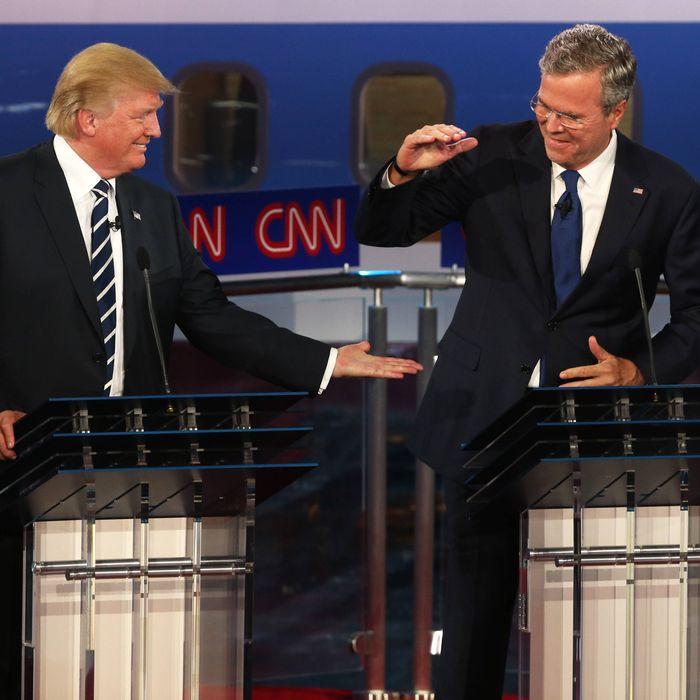 Donald Trump (L) and Jeb Bush at the debates at the second Republican debate at the Reagan Library on September 16, 2015.