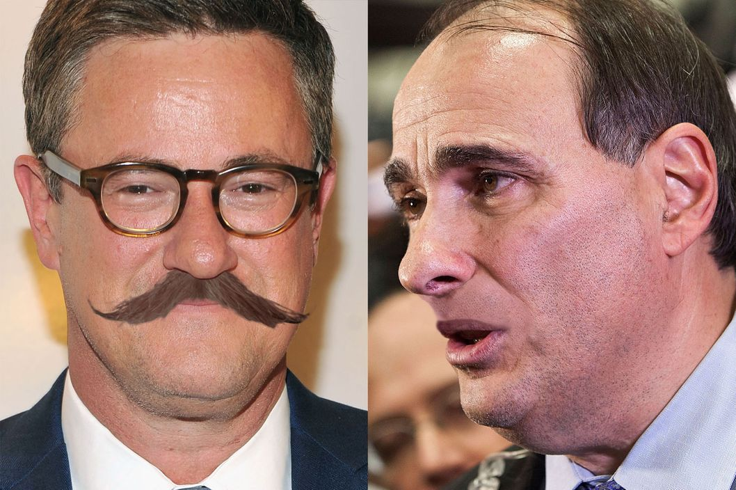Joe Scarborough with an old-timey mustache, and David Axelrod without a mustache.