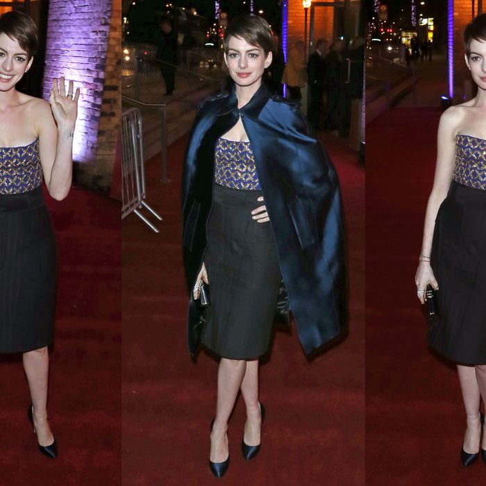 Anne Hathaway's second outfit of the evening.
