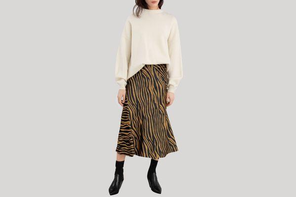 Zebra Print Midi Skirt