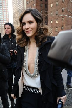 Katharine McPhee arrives at the tents.