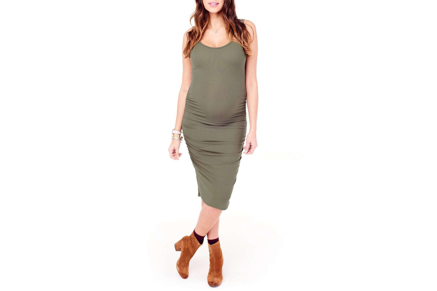 Ingrid & Isabel Shirred Midi Maternity Tank Dress