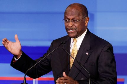 AMES, IA - AUGUST 11:  Republican presidential candidate businessman Herman Cain speaks during the Iowa GOP/Fox News Debate on August 11, 2011 at the CY Stephens Auditorium in Ames, Iowa. This is the first Republican presidential debate in the state ahead of Saturday's all important Iowa Straw Poll. (Charlie Neibergall-Pool/Getty Images)