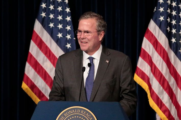 Presidential Candidate Jeb Bush Speaks At Reagan Library