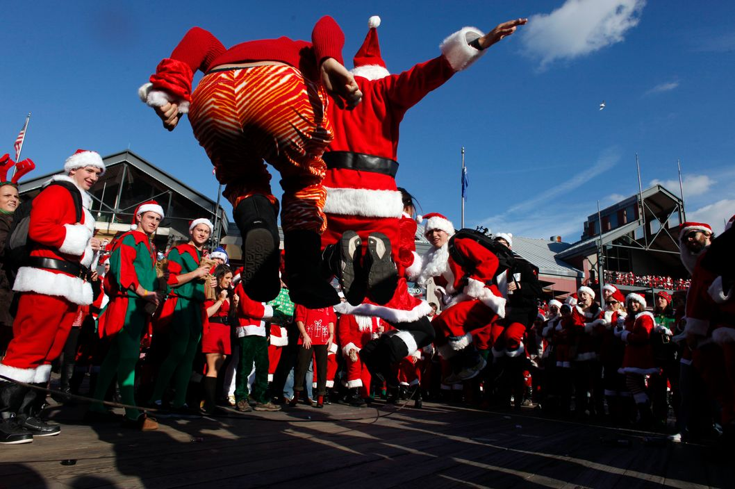 Santas jumping rope — this must've been before they hit the bars.