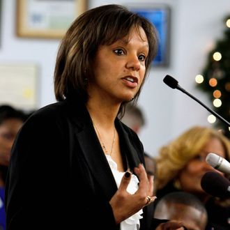 FILE - In this Dec. 15, 2012 file photo, Illinois Democratic U.S. Congressional hopeful Robin Kelly speaks during a candidate presentation at the 2nd Congressional District Slating Meeting in South Holland, Ill. Candidates for former Congressman Jesse Jackson Jr.'s 2nd congressional seat made their final push for votes Monday Feb. 25, 2013, ahead of tomorrow's high-stakes primary. Turnout is expected to be paltry despite the lurid headlines surrounding the disgraced Chicago Democrat and millions in outside super PAC money driven largely by the guns debate. (AP Photo/John Smierciak, File)