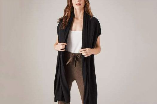 Naadam Chetwyn Silk Cashmere Travel Wrap Black