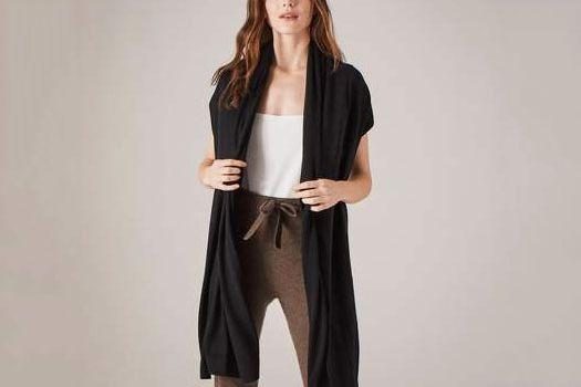 Naadam Chetwyn Silk Cashmere Travel Wrap Black