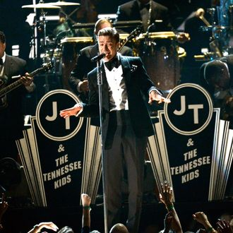 Singer Justin Timberlake (C) performs onstage at the 55th Annual GRAMMY Awards at Staples Center on February 10, 2013 in Los Angeles, California.