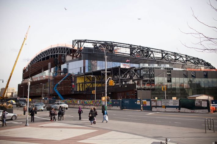 The Barclay Center, a sports arena and future home of the the National Basketball Association's New Jersey Nets, is seen under construction on March 5, 2012 at the intersection of Flatbush Avenue and Atlantic Avenue, in the Brooklyn borough of New York City. T