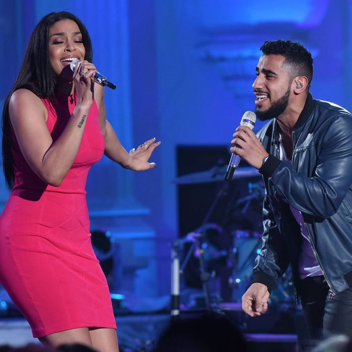 """AMERICAN IDOL: L-R: Jordin Sparks with contestant anny Torres in the """"Showcase #4: Judges Vote"""" episode of AMERICAN IDOL airing Thursday, Feb. 18 (8:00-10:00 PM ET/PT) on FOX. © 2016 FOX Broadcasting Co. Cr: Ray Mickshaw / FOX."""