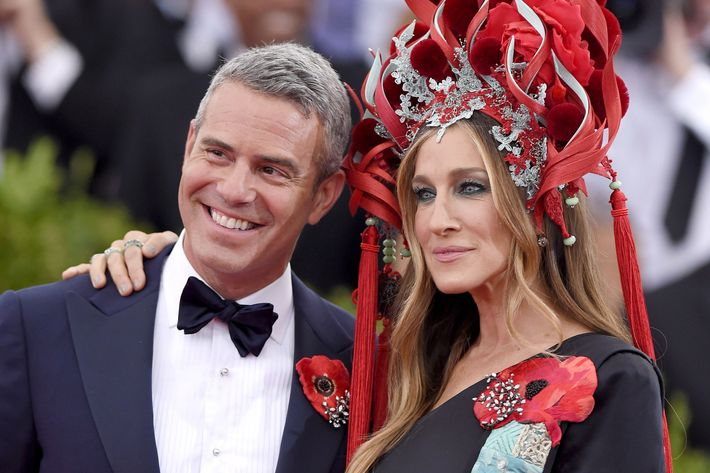 Andy Cohen and Sarah Jessica Parker at the Met's Costume Institute Benefit Gala last spring.