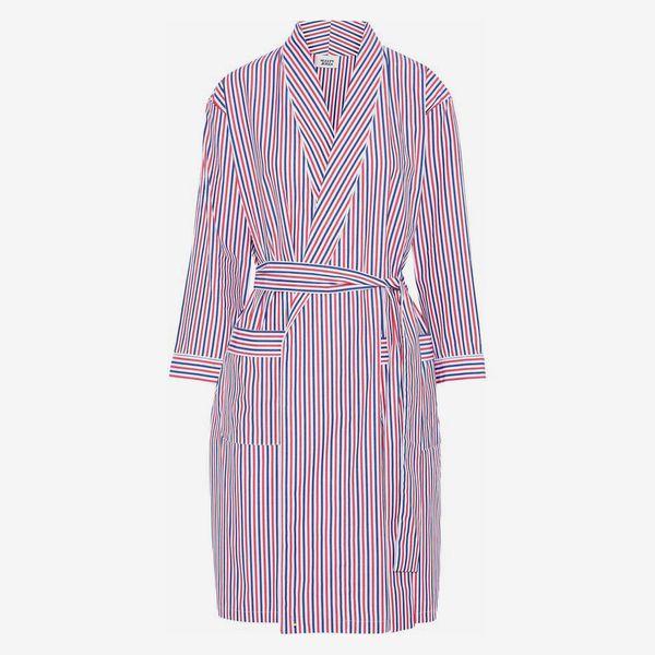 Striped Cotton-Poplin Robe - strategist best striped multicolor poplin night robe