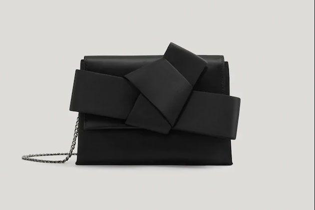 Black Satin Bow Bag