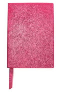 Smythson Textured-Leather Notebook (Magenta)