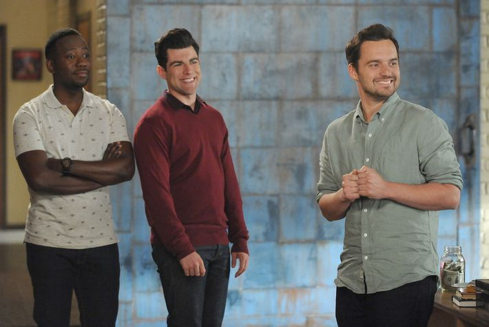 "NEW GIRL:  L-R:  Lamorne Morris, Max Greenfield and Jake Johnson in the ""No Girl"" episode of NEW GIRL airing Tuesday, Jan. 26 (8:00-8:30 PM ET/PT) on FOX.  ©2016 Fox Broadcasting Co.  Cr:  Ray Mickshaw/FOX"