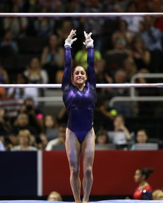 Jordyn Wieber competes on the uneven bars during day 4 of the 2012 U.S. Olympic Gymnastics Team Trials at HP Pavilion on July 1, 2012 in San Jose, California.