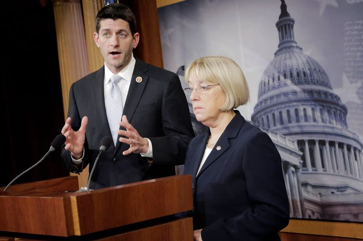WASHINGTON, DC - DECEMBER 10:  Senate Budget Committee Chairman Patty Murray (D-WA) and House Budget Committee Chairman Paul Ryan (R-WI) hold a press conference to announce a bipartisan budget deal, the Bipartisan Budget Act of 2013, at the U.S. Capitol on December 10, 2013 in Washington, DC. The $85 billion agreement would set new spending levels for the next two years and create $63 billion in so-called 'sequester relief.'  (Photo by T.J. Kirkpatrick/Getty Images)
