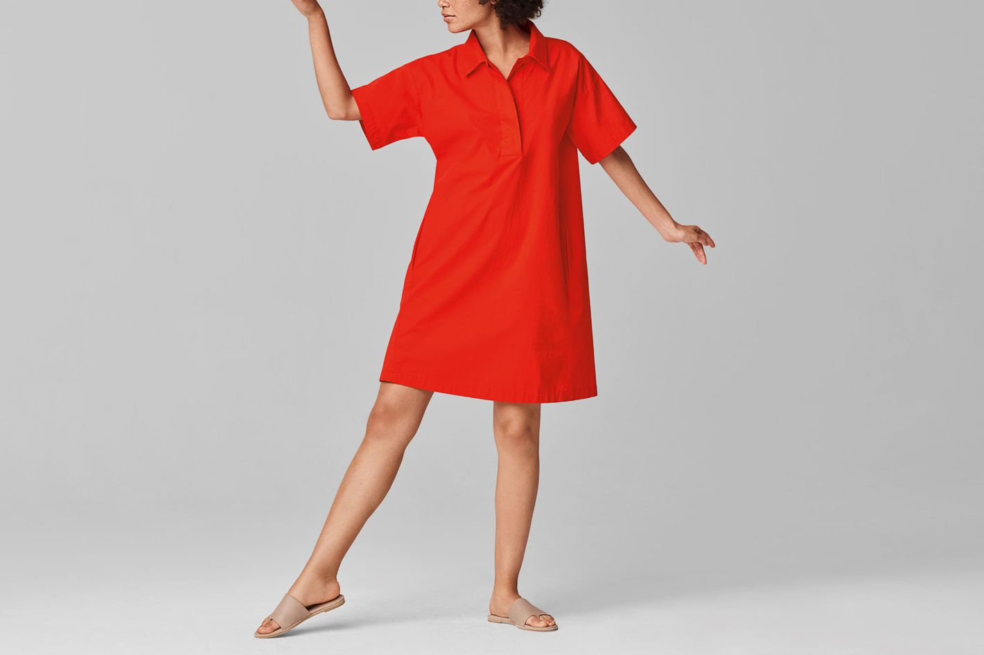 Eileen Fisher ORGANIC COTTON POPLIN SHIRT DRESS