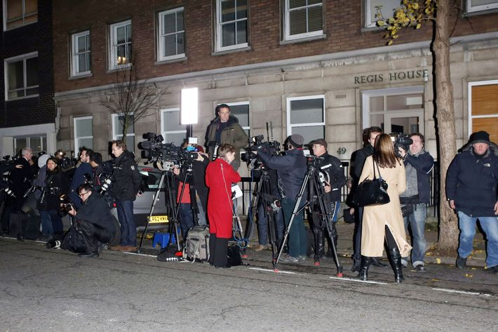 The scene outside the King Edward VII hospital last night.