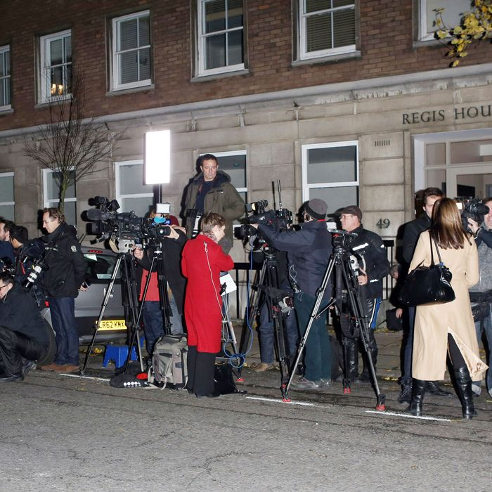 The scene outside the King Edward VII hospital last night.