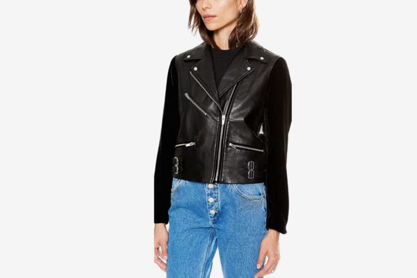 Veda Puzzle Velvet and Leather Jacket Black