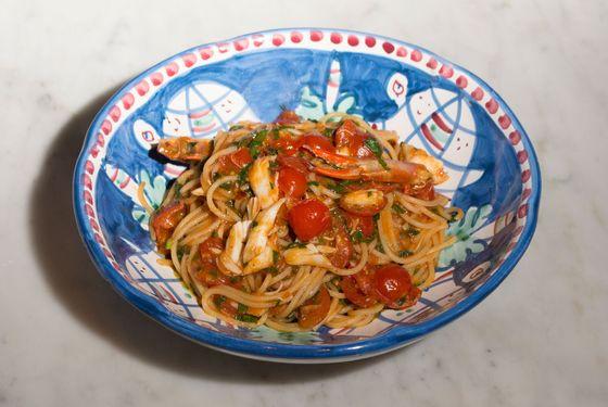 Spaghetti blue crab.