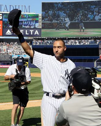 Derek Jeter #2 of the New York Yankees after the game against the Tampa Bay Rays on July 9, 2011 at Yankee Stadium.
