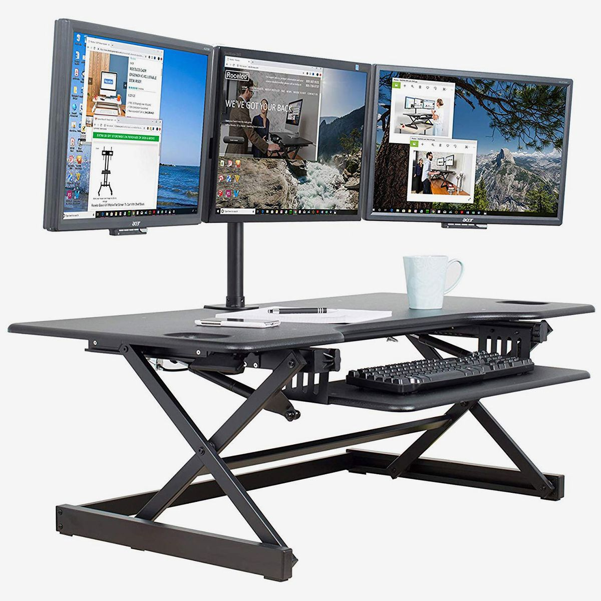 "VIVO Small Single Top Height Adjustable 29/"" Standing Desk Monitor Riser"