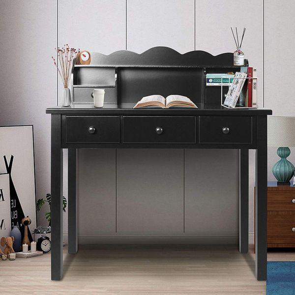 FUNKOCO Writing Desk with Detachable Hutch, Black