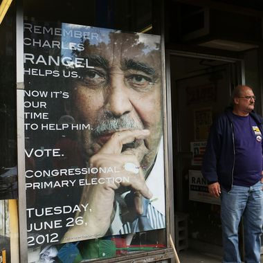 NEW YORK, NY - JUNE 26:  A campaign volunteer stands outside of the Harlem campaign office of Congressman Charles Rangel on June 26, 2012 in New York City. After more than four decades as a congressman, Rangel is fighting for the Democratic nomination in a newly redrawn congressional district that is no longer dominated by African Americans. The 82-year-old Rangel is locked in a race Tuesday for the nomination in his Harlem-area district with New York state Sen. Adriano Espaillat. Espaillat, a 57-year-old Dominican-American, has enjoyed growing popularity in a district that now has more Latino-Americans than African-Americans.  (Photo by Spencer Platt/Getty Images)