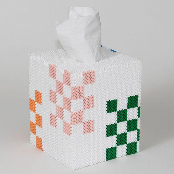 Checkers tissue box cover