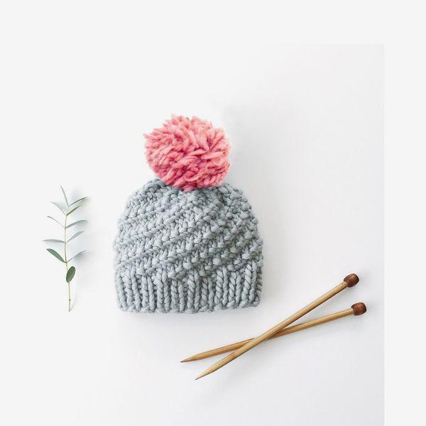 Luca Pom Hat Knitting Kit - Dust Pink Pompon