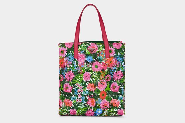 Prada Leather-Trimmed Floral Shopping Tote Bag