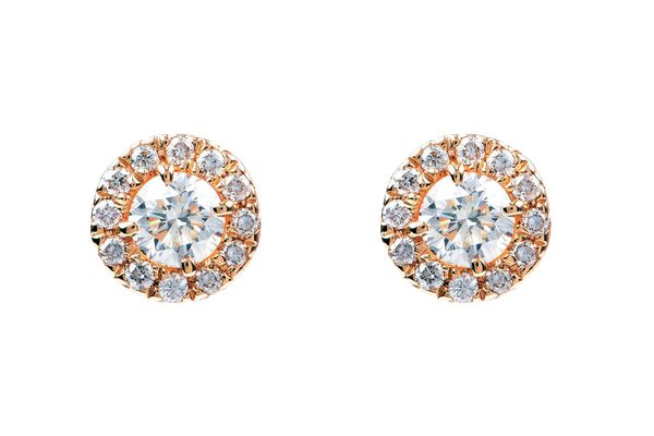 Diamond halo stud earrings in yellow gold