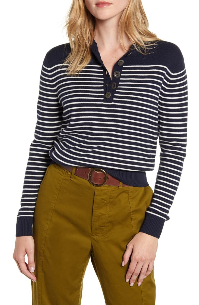 Alex Mill Marine Stripe Crop Merino Wool & Cotton Sweater