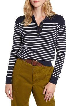 Alex Mill Marine Stripe Crop Merino Wool & Cotton Sweater