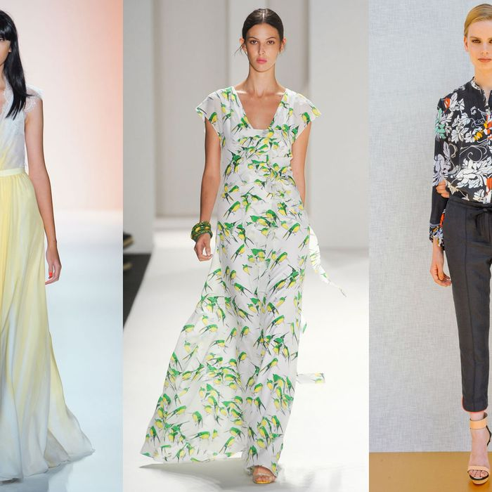From left: spring looks from Jenny Packham, Carolina Herrera, and Rachel Roy