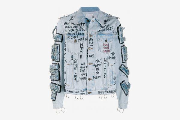 Faith Connexion Distressed Printed Denim Jacket
