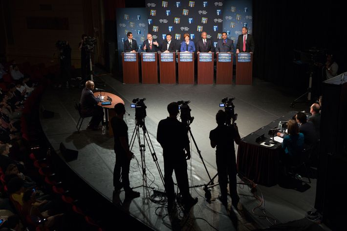 NEW YORK, NY - AUGUST 21: Democratic primary candidates for Mayor of New York City (L - R) Anthony D. Weiner, Sal F. Albanese, John C. Liu, Christine C. Quinn, William C.  Thompson Jr., Erick J. Salgado, and Bill de Blasio face off for the first debate at the Town Hall on August 21, 2013 in New York City.  Residents go to the polls September 10 for the primary election.  (Photo by Ruth Fremson-Pool/Getty Images)