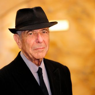 Canadian singer Leonard Cohen arrives at the Jovellanos Theatre for the concert