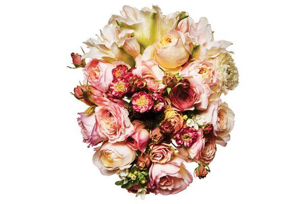 Ranunculus, paperwhite, spray rose, raspberry, amaryllis, and white tweedia