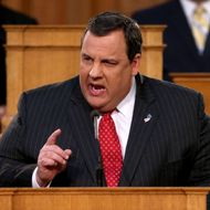 New Jersey Governor Chris Christie addresses state legislators during his State of the State Address in the Assembly Chamber at the Statehouse on January 8, 2013 in Trenton, New Jersey. The popular Republican governor called on Congress to quickly approve more disaster aid for the state, more than two months after Hurricane Sandy.