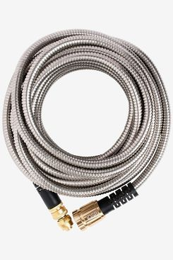 Quality Source Products 50' Metal Garden Hose, Stainless Steel with Brass Sprayer