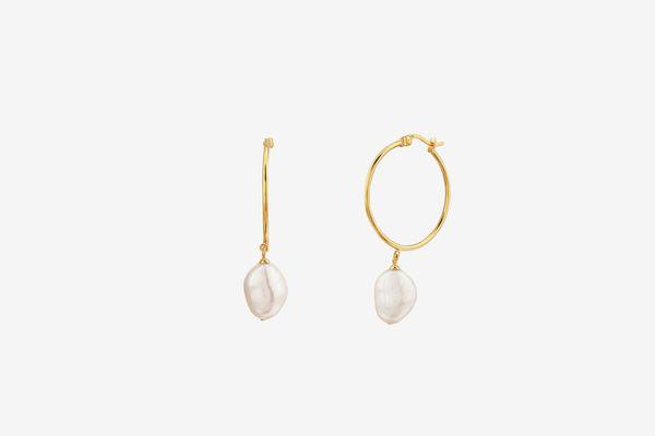 Mejuri Organic Pearl Large Hoops