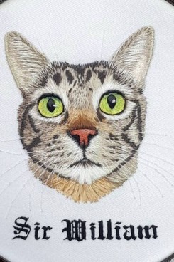 Hand-Embroidered Pet Portrait
