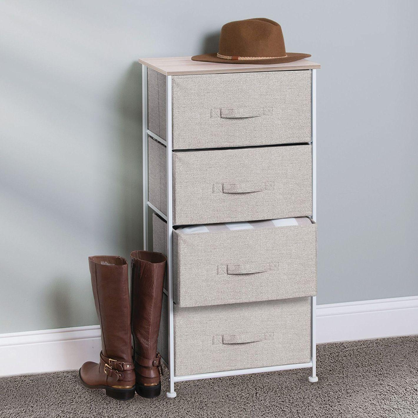 mDesign Fabric 4-Drawer Storage Organizer Dresser