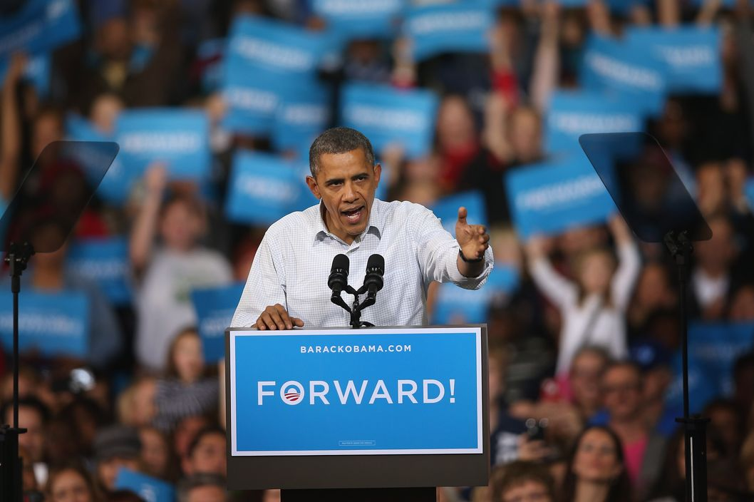 MILWAUKEE, WI - NOVEMBER 03:  U.S. President Barack Obama speaks to supporters during a campaign rally at the Delta Center on November 3, 2012 in Milwaukee, Wisconsin. Wisconsin is one of nine battleground states expected to determine the outcome of Tuesday's presidential election.  (Photo by Scott Olson/Getty Images)